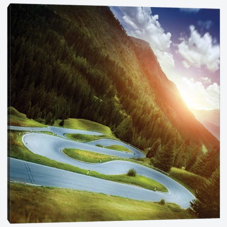 Winding Road In A Forest Of Dolomite Alps At Sunset, Northern Italy Canvas Print #TRK2610} by Evgeny Kuklev Canvas Art Print