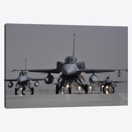 Turkish Air Force F-16C/D Block 52+ Aircraft Taxiing On The Runway Canvas Print #TRK261} by Giorgio Ciarini Canvas Art Print