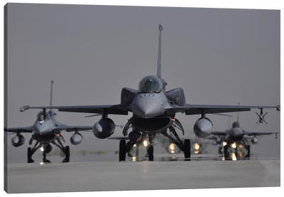 Turkish Air Force F-16C/D Block 52+ Aircraft Taxiing On The Runway Canvas Art Print