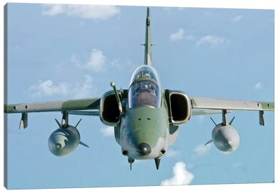 A Brazilian Air Force Embraer A-1B Soars Through The Sky Over Brazil I Canvas Art Print