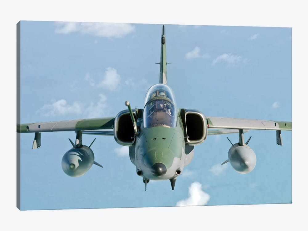 A Brazilian Air Force Embraer A-1B Soars Through The Sky Over Brazil I by Giovanni Colla 1-piece Canvas Artwork