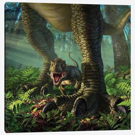 A Baby Tyrannosaurus Rex Roars While Safely Standing Between It's Mother's Legs Canvas Print #TRK2631} by Jerry Lofaro Art Print