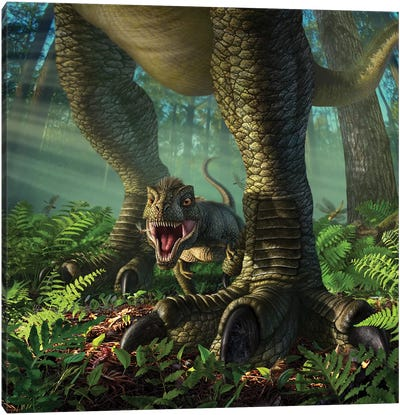 A Baby Tyrannosaurus Rex Roars While Safely Standing Between It's Mother's Legs Canvas Art Print