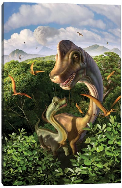 A Brachiosaurus With Young Above The Treetops, Surrounded By Pterodactyls Canvas Art Print