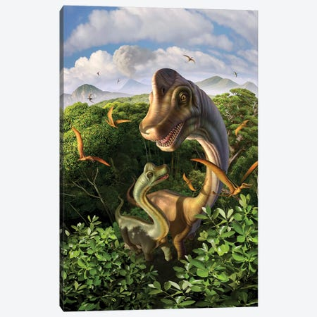 A Brachiosaurus With Young Above The Treetops, Surrounded By Pterodactyls Canvas Print #TRK2632} by Jerry Lofaro Art Print