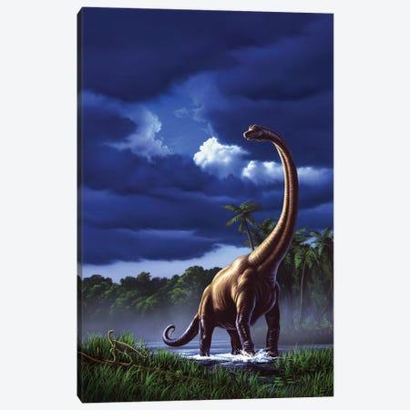A Startled Brachiosaurus Splashes Through A Swamp Against A Stormy Sky Canvas Print #TRK2633} by Jerry LoFaro Canvas Art Print