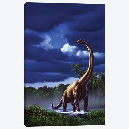 A Startled Brachiosaurus Splashes Through A Swamp Against A Stormy Sky Canvas Print #TRK2633} by Jerry LoFaro Canvas Art Print