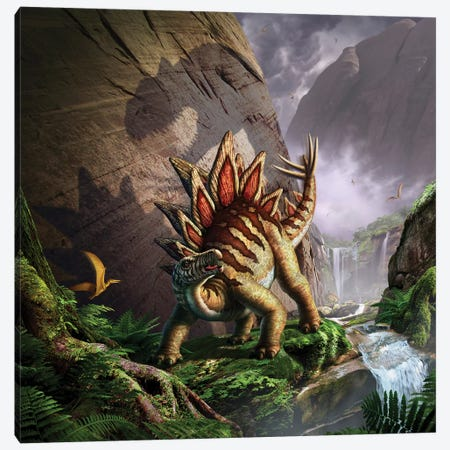 A Stegosaurus Is Surprised By An Allosaurus While Feeding In A Lush Gorge Canvas Print #TRK2634} by Jerry Lofaro Canvas Art