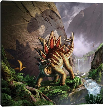 A Stegosaurus Is Surprised By An Allosaurus While Feeding In A Lush Gorge Canvas Art Print