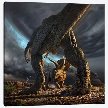 A Tyrannosaurus Rex And Triceratops In A Classic Face Off Canvas Print #TRK2635} by Jerry Lofaro Canvas Wall Art