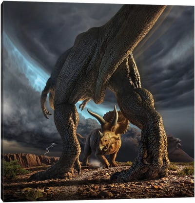A Tyrannosaurus Rex And Triceratops In A Classic Face Off Canvas Art Print