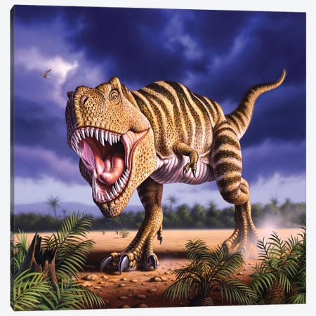 A Tyrannosaurus Rex Attacks, Lit By The Late Afternoon Sun Canvas Print #TRK2636} by Jerry LoFaro Canvas Wall Art