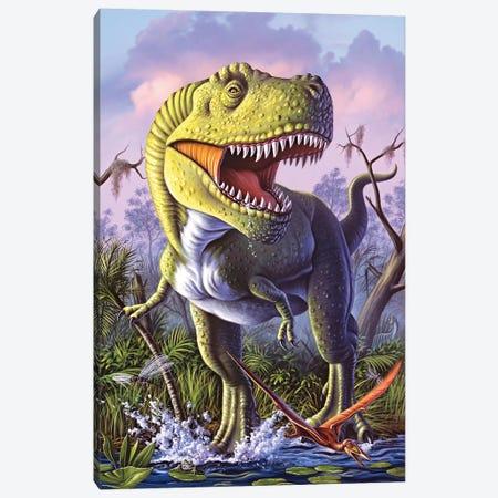 A Tyrannosaurus Rex Crashes Through A Swamp Canvas Print #TRK2637} by Jerry Lofaro Canvas Art