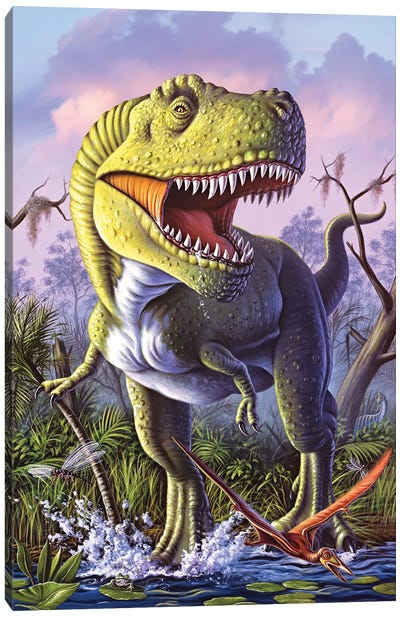 A Tyrannosaurus Rex Crashes Through A Swamp Canvas Art Print