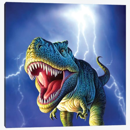 A Tyrannosaurus Rex With A Blue Stormy Sky And Lightning Behind It Canvas Print #TRK2638} by Jerry LoFaro Art Print