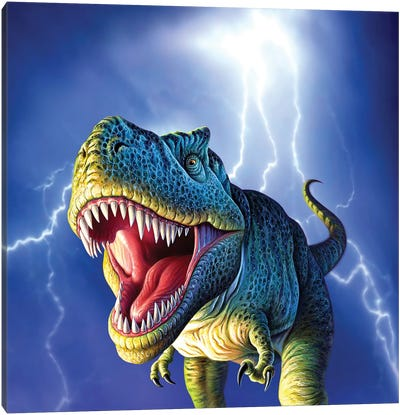 A Tyrannosaurus Rex With A Blue Stormy Sky And Lightning Behind It Canvas Art Print