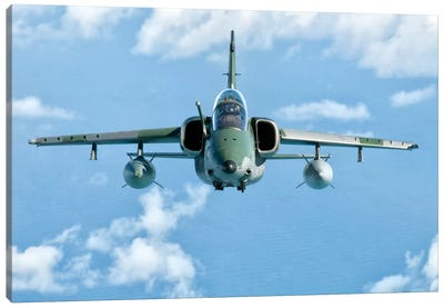 A Brazilian Air Force Embraer A-1B Soars Through The Sky Over Brazil II Canvas Art Print