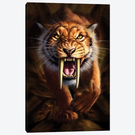 Full On View Of A Saber-Toothed Tiger Canvas Print #TRK2640} by Jerry Lofaro Canvas Wall Art