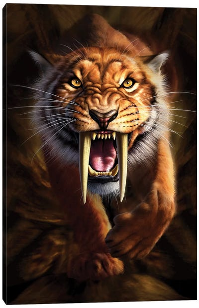 Full On View Of A Saber-Toothed Tiger Canvas Art Print