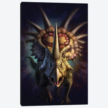 Full On View Of The Horned Dinosaur, Styracosaurus Canvas Print #TRK2642} by Jerry LoFaro Canvas Artwork