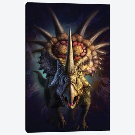 Full On View Of The Horned Dinosaur, Styracosaurus Canvas Print #TRK2642} by Jerry Lofaro Canvas Artwork