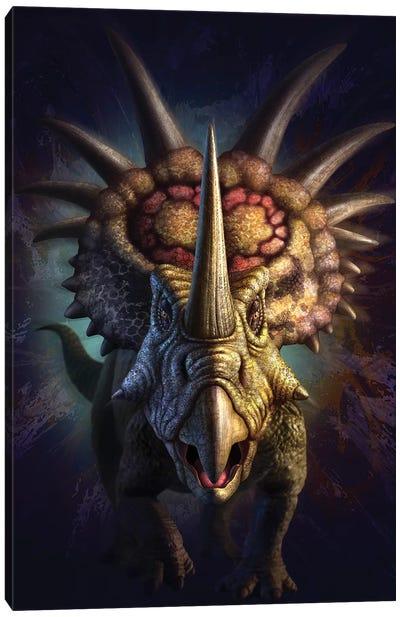 Full On View Of The Horned Dinosaur, Styracosaurus Canvas Art Print