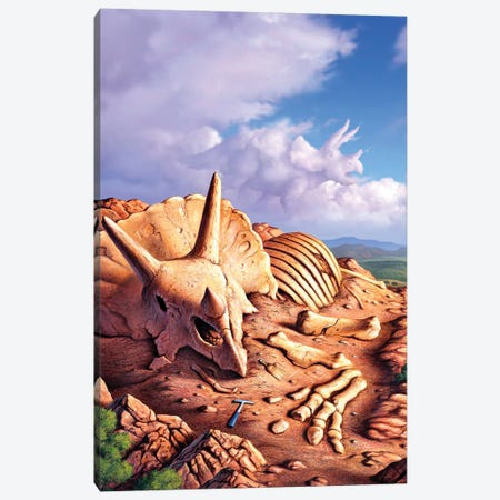 The Exposed Bones Of A Triceratops On A Western Landscape Canvas Print #TRK2643} by Jerry LoFaro Canvas Art