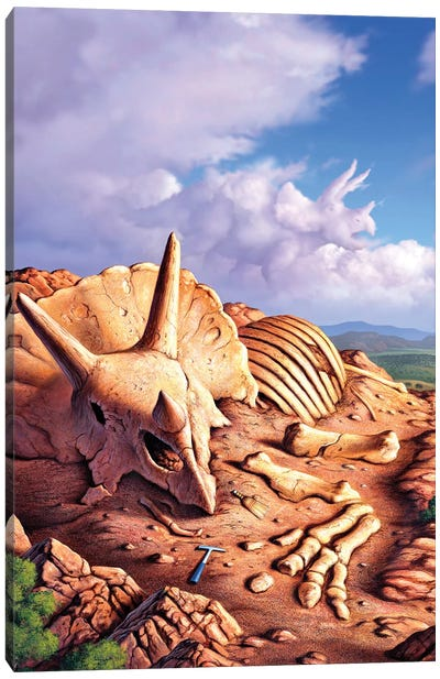 The Exposed Bones Of A Triceratops On A Western Landscape Canvas Art Print