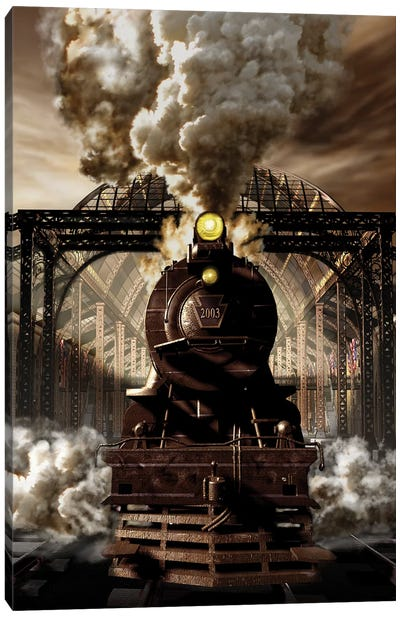 Industrial Age Of Steam Engine Canvas Art Print