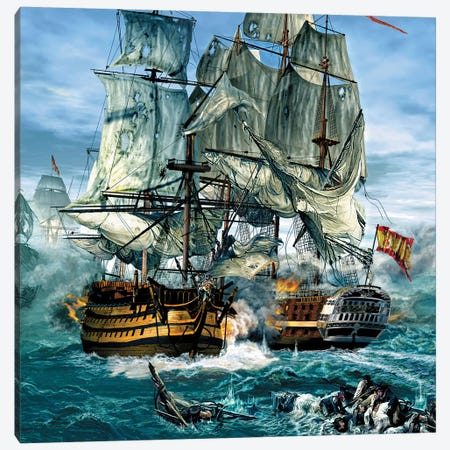 Naval Warfare Was Dominated By Sailing Ships From The 16Th To The Mid 19Th Century 3-Piece Canvas #TRK2647} by Kurt Miller Art Print