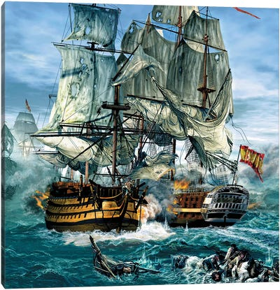 Naval Warfare Was Dominated By Sailing Ships From The 16Th To The Mid 19Th Century Canvas Art Print