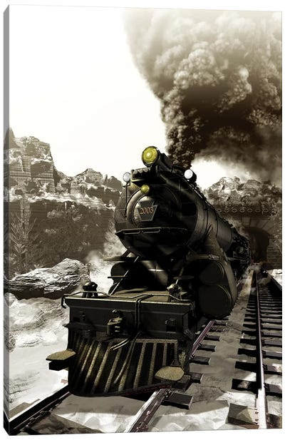 Steam Engine Emerging Out Of A Tunnel Canvas Art Print