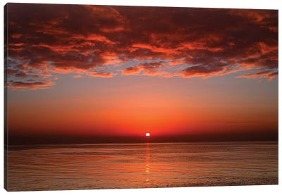A Layer Of Clouds Is Lit By The Rising Sun Over Rio De La Plata, Buenos Aires, Argentina Canvas Art Print