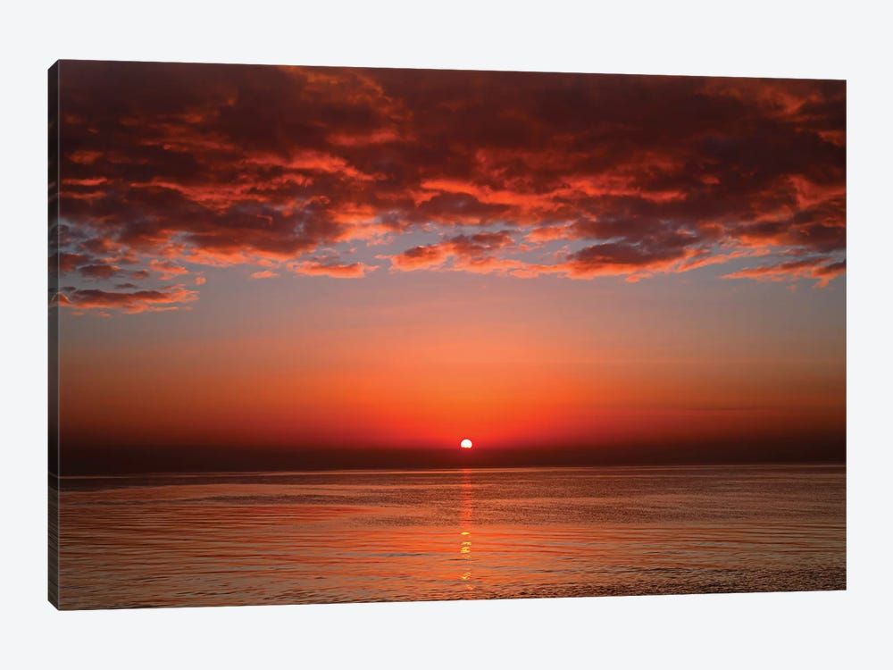 A Layer Of Clouds Is Lit By The Rising Sun Over Rio De La Plata, Buenos Aires, Argentina by Luis Argerich 1-piece Canvas Art
