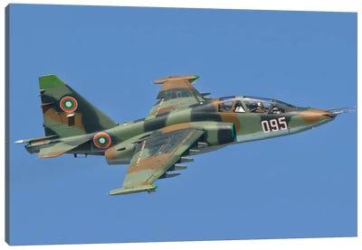 A Bulgarian Air Force Su-25 In Flight Over Bulgaria Canvas Art Print