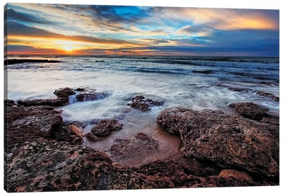 A Seascape At Sunrise From Miramar, Argentina Canvas Art Print