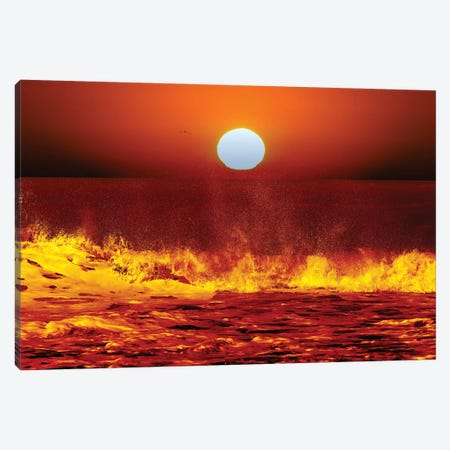 The Sun And Ocean Waves In Miramar, Argentina Canvas Print #TRK2657} by Luis Argerich Canvas Wall Art