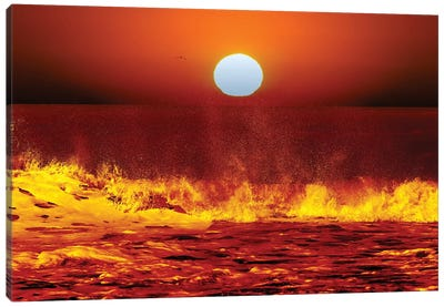 The Sun And Ocean Waves In Miramar, Argentina Canvas Art Print