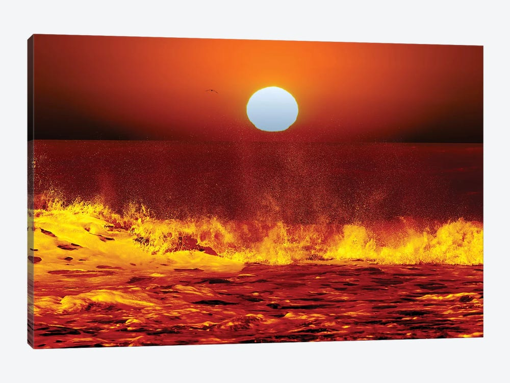 The Sun And Ocean Waves In Miramar, Argentina by Luis Argerich 1-piece Canvas Print