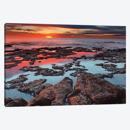 Tidal Pools Reflect The Sunrise Colors During The Autumn Equinox Canvas Print #TRK2658} by Luis Argerich Canvas Art Print