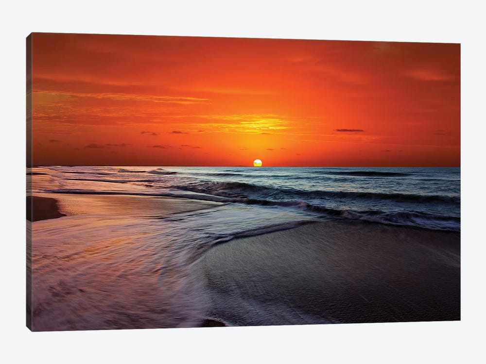 Two Crossing Waves At Sunrise In Miramar, Argentina by Luis Argerich 1-piece Canvas Art Print