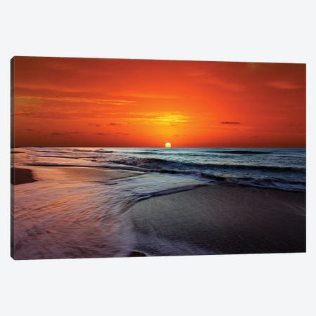Two Crossing Waves At Sunrise In Miramar, Argentina Canvas Print #TRK2659} by Luis Argerich Art Print