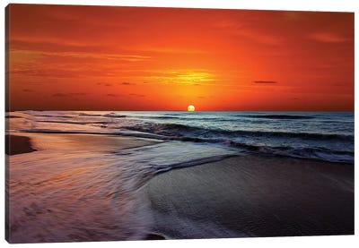 Two Crossing Waves At Sunrise In Miramar, Argentina Canvas Art Print