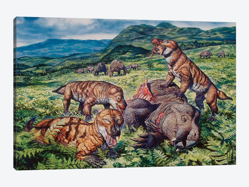 A Group Of Carnivorous Cynognathus Prey On A Placerias Dicynodont by Mark Hallett 1-piece Canvas Print