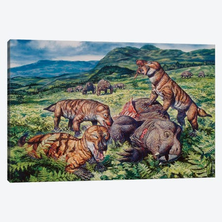 A Group Of Carnivorous Cynognathus Prey On A Placerias Dicynodont 3-Piece Canvas #TRK2660} by Mark Hallett Canvas Wall Art