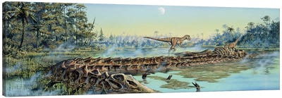 A Pair Of Allosaurus Dinosaurs Explore The Remains Of A Diplodocus Carcass Canvas Art Print