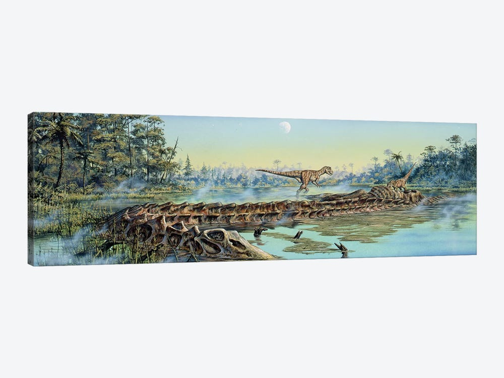 A Pair Of Allosaurus Dinosaurs Explore The Remains Of A Diplodocus Carcass by Mark Hallett 1-piece Art Print