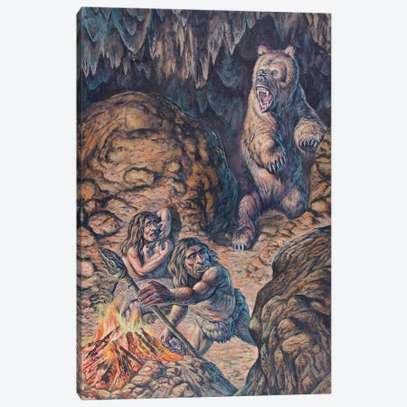Neanderthal Humans Confronted By A Cave Bear Canvas Print #TRK2674} by Mark Hallett Canvas Art