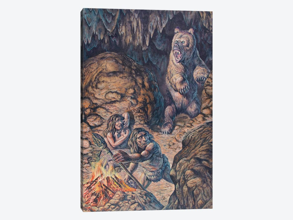 Neanderthal Humans Confronted By A Cave Bear by Mark Hallett 1-piece Canvas Artwork