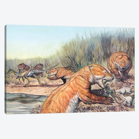 Repenomamus Mammals Hunting For Prey Canvas Print #TRK2675} by Mark Hallett Canvas Wall Art
